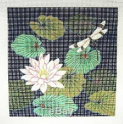 SP. ORDER Waterlily & Dragonfly handpainted Needlepoint Canvas by JP Needlepoint