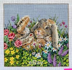Sandra Gilmore Rabbit & Flowers Hand Painted Needlepoint Canvas 18 ct