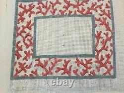 Set/2 13 Ct Handpainted Needlepoint Coral Sea Life Beach Frame Clutch Canvases