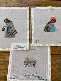 Set of 14 handpainted needlepoint nativity kits