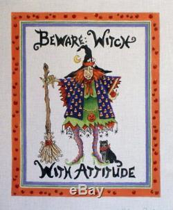 Share One's Ideas BEWARE WITCH WITH ATTITUDE Hand Painted Needlepoint Canv