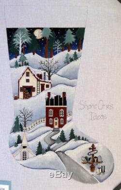 Share One's Ideas Christmas Stocking Hand Painted Needlepoint Canvas 18 ct