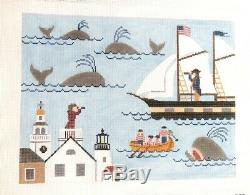 Silver Needle Nantucket Lovers Pillow Handpainted Needlepoint Canvas SN