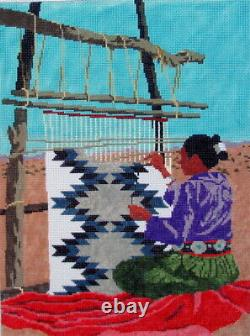Southwest Woman Weaving Hand Painted Needlepoint Canvas