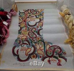 Strictly Christmas Santa Claus Paisley Stocking Hand Painted Needlepoint Canvas