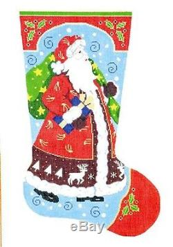 Strolling Santa LG. Christmas Stocking handpainted Needlepoint Canvas 13m by LEE