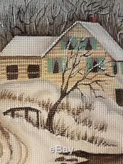 Stunning Hand painted needlepoint canvas by Leigh, large stocking