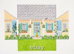 Summer House Brick Cover handpainted Needlepoint Canvas by Needle Crossings