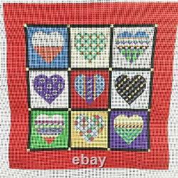 Susan Roberts QUILT OF HEARTS Handpainted Needlepoint Canvas 18 New