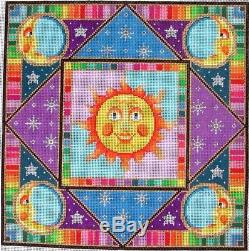 Susan Treglown Large Colorful Suns Handpainted HP Needlepoint Canvas 3289