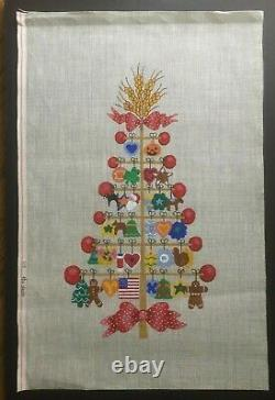 The Studio Hand-painted Needlepoint Canvas Bright & Colorful Holiday Tree