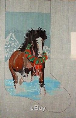 Treglown Clydesdale Horse Xmas Stocking Hand Painted Needlepoint Canvas MZC