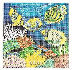 Tropical Fish 16 x 16 on 12 mesh handpainted LG. Needlepoint Canvas by LEE