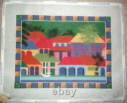 Tropical Town with Palm Trees HP Handpainted Needlepoint Canvas GJ
