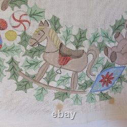 VTG Handpainted Needlepoint Canvas Large Christmas Wreath Toys Gingerbread