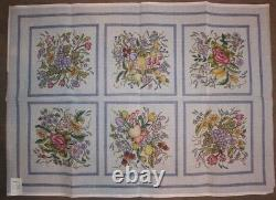 VTG Set Lot 6 of Hand Painted Floral Rug Needlepoint by KAPPIE ORIGINALS