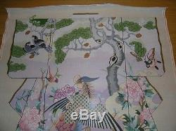 Very Large Peacock and Floral Kimono Handpainted Needlepoint Canvas