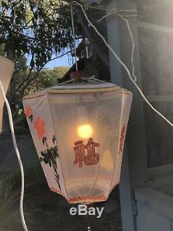 Vintage Chinese Hand Painted Mesh Gauze Lantern Chandelier