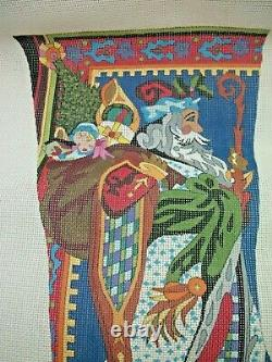 Vintage FATHER CHRISTMAS Handpainted Needlepoint STOCKING Canvas by PETER ASHE
