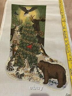 Vintage Forest animals Handpainted Needlepoint STOCKING Canvas by Liz
