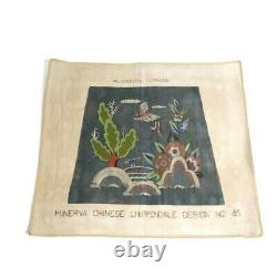 Vintage Handpainted Needlepoint Canvas Large Minerva Chinese Chippendale Started