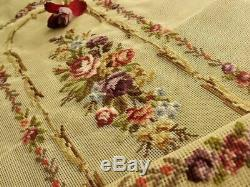 Vtg. 40 PREWORKED Needlepoint Canvas French Victorian Purple Violet RUG Bench