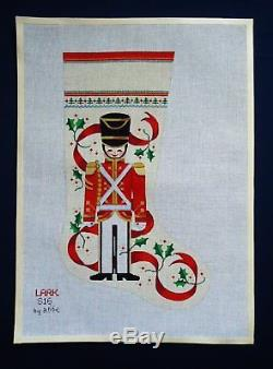 Vtg Abbe Handpainted Needlepoint Canvas Christmas Stocking TOY SOLDIER 20