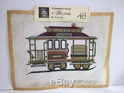 Vtg PETER ASHE Handpainted Needlepoint Canvas CABLE CAR II Signed San Francisco