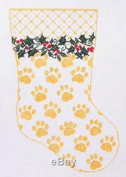 Whimsy & grace Paw Prints Dog or Cat Pet Stocking handpainted Needlepoint Canvas