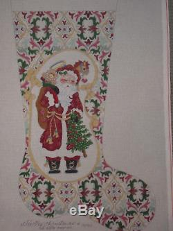 Xlrg Strictly Christmas Handpainted Needlepoint Canvas Stocking Santa $409 HP Np